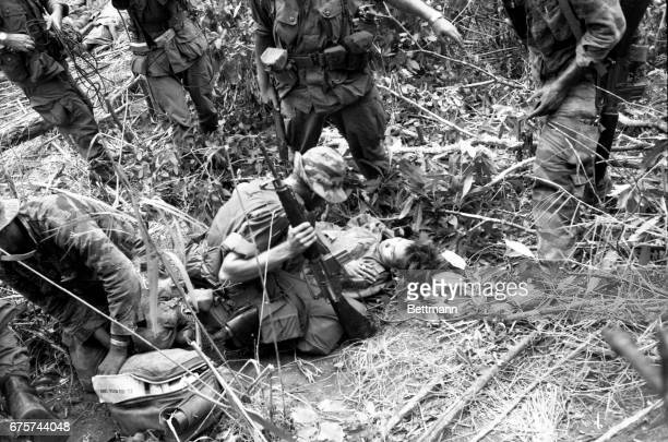 """A member of the elite """"Tiger"""" force of the 101st Airborne Brigade questions a wounded North Vietnamese captured as the brigade hacked its way through..."""