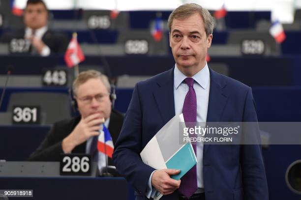 Member of the European Parliament and former leader of the antiEU UK Independence Party Nigel Farage arrives for a debate as part of a plenary...