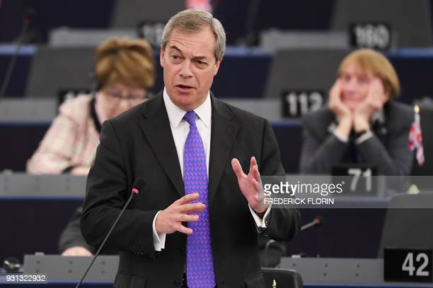 Member of the European Parliament and former leader of the antiEU UK Independence Party Nigel Farage speaks during a plenary session at the European...