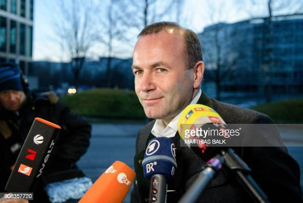 Member of the European parliament Manfred Weber talks to the press upon his arrival for a meeting of the Christian Social Union party's leadership on...