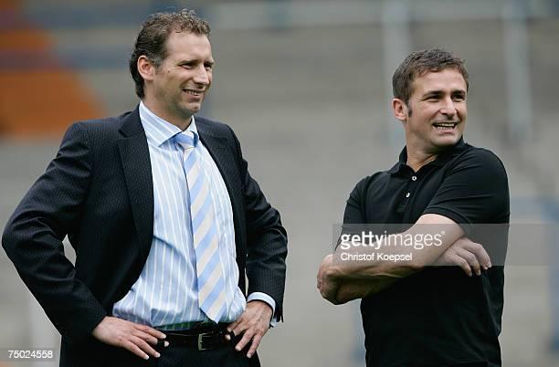 Member of the executive committee Ansgar Schwenken and manager Stefan Kuntz smile during the Bundesliga 1st Team presentation of VFL Bochum at the...