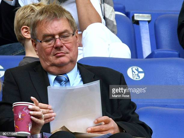 Member of the executive committee Josef Schnusenberg of Schalke 04 is pictured during the Bundesliga match between FC Schalke 04 and SC Freiburg at...