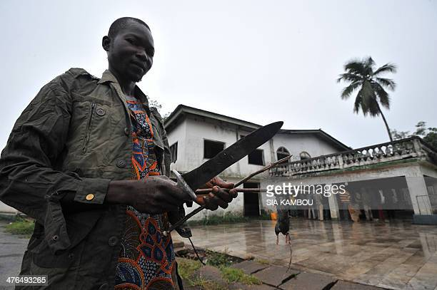 A member of the exSeleka rebels pose with a knife and a dead mouse in front of late Centrafrican emperor JeanBedel Bokassa's palace in Beringo on...