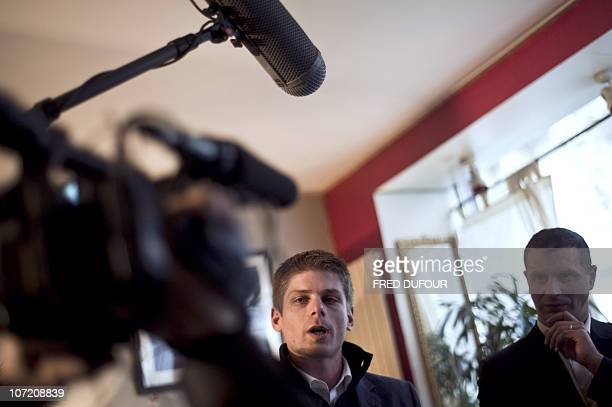 """Member of the far right party """"Bloc identitaire"""" Arnaud Gouillon gives a press conference, on November 30, 2010 in Paris, to announce his candidacy..."""
