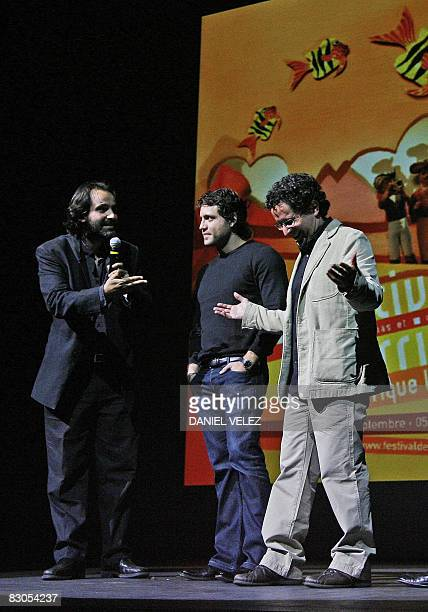 Member of the Festival JeanChistophe Berjon Venezuelian film director Alberto Arvelo and Venezuelian actor Edgar Ramirez are pictured on September 29...