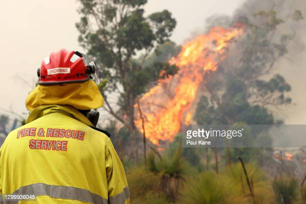 Member of the Fire & Rescue Service watches an approaching bush fire at Copley Road in Upper Swan on February 02, 2021 in Perth, Australia. The Rapid...