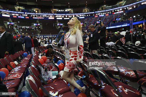 A member of the Florida delegation takes in the scene after Republican presidential candidate Donald Trump formally accepted his party's nomination...