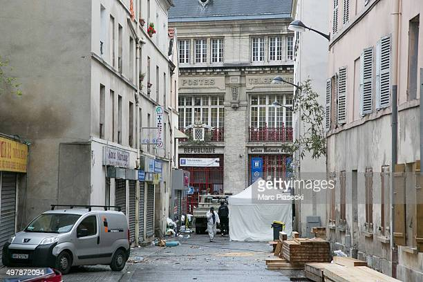 A member of the forensics of the french police works in front of the '2 Rue du Corbillon' on November 19 2015 in SaintDenis France France continues...