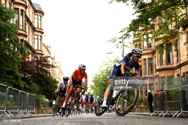 Member of the France team passes by in the Women's Road Race during the Road Cycling on Day Four of the European Championships Glasgow 2018 at on...