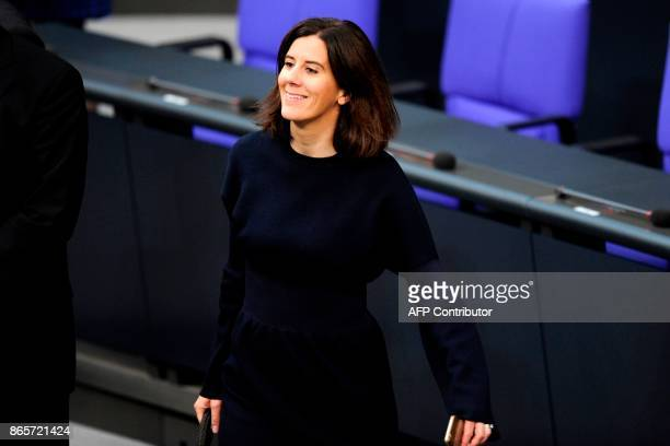 Member of the Free Democratic Party Katja Suding arrives in the hemicycle for the first session of the newlyelected parliament on October 24 2017 at...