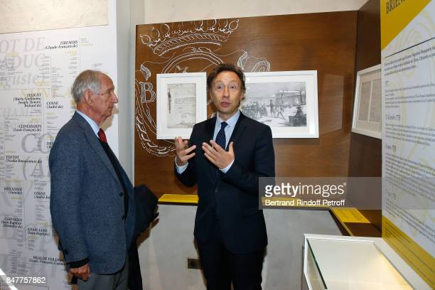 Member of the French Academie Jean Tulard and Stephane Bern attend Stephane Bern comments the visit of the 'College Royal et Militaire' de...