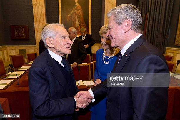 Member of the French Academy Jean d'Ormesson and German President Joachim Gauck visit l'Institut de France on January 26 2017 in Paris France