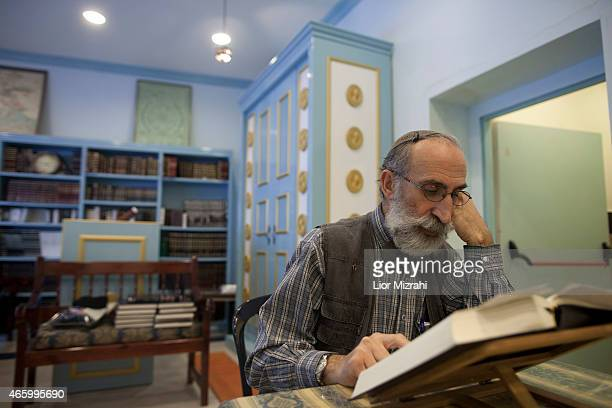 A member of the French community studies the Torah in a synagogue on March 11 2015 in Jerusalem Israel The recent wave of antiSemetism that has swept...
