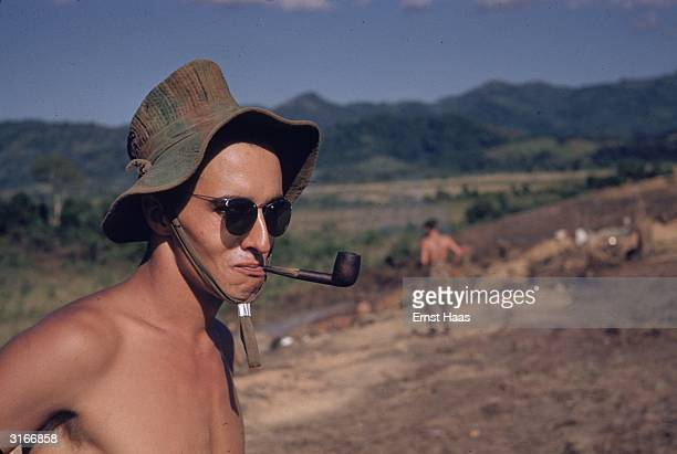 Member of the French Foreign Legion at Dien Bien Phu in north-west Vietnam, the site of a major battle between the French and the Vietminh in 1954....