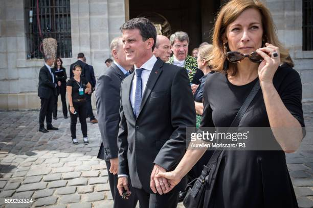 Member of the French Parliament Manuel Valls and his wife Anne Gravoin attend the Simone Veil Funeral and national tribute at Hotel des Invalides on...