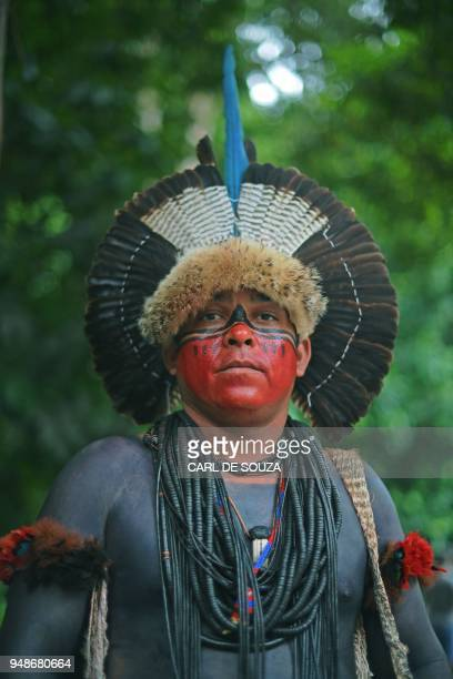 A member of the Fulnio tribe poses for a picture in Rio de Janeiro Brazil on April 14 2018 Brazil celebrates Indian Day every April 19 honouring the...