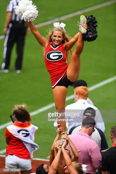 A member of the Georgia Bulldogs Cheerleaders performs during the game against the Middle Tennessee Blue Raiders on September 15 2018 at Sanford...