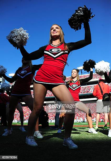 A member of the Georgia Bulldogs Cheerleaders performs during the game against the Georgia Tech Yellow Jackets at Sanford Stadium on November 26 2016...