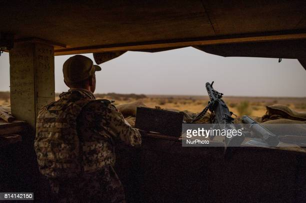 A member of the German Armed Forces secures the area surrounding the Camp Castor airfield in Gao Mali 19 May 2017 Members of the German armed forces...