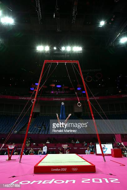 A member of the Great Britain gymnastics team performs during the men's artistic gymnastics training sessions ahead of the 2012 London Olympic Games...
