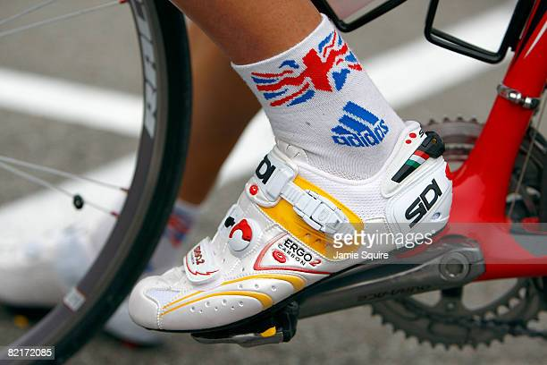 A member of the Great Britain Road Cycling Teams pedals are seen during practice at the Urban Cycling Road Course ahead of the Beijing 2008 Olympic...