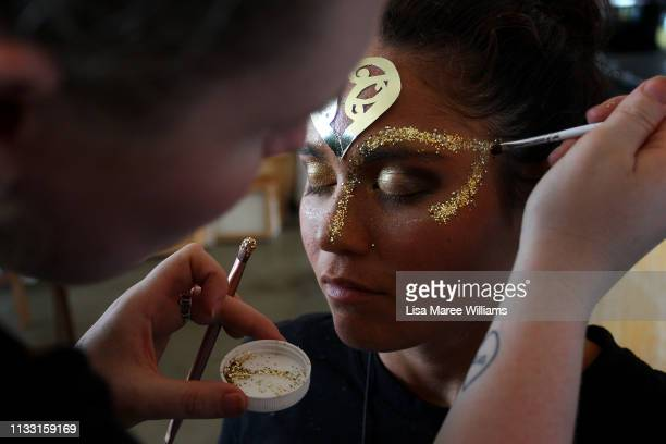 A member of the Haka For Life float prepares to take part in the annual Mardi Gras parade on March 02 2019 in Sydney Australia It is the first time...
