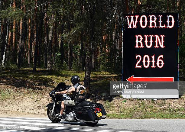 A member of the Hells Angels motorcycle club arrives for the Hells Angels' World Run 2016 gathering on June 3 2016 in Rynia near Warsaw More than a...