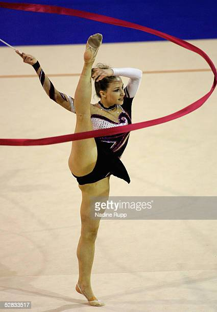 A member of the Hessischer Turnerverband team performs during the International German Gymnastics Festival on May 16 2005 in Berlin Germany