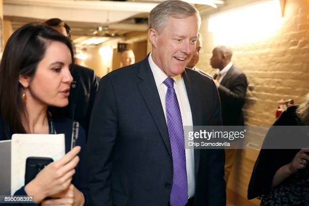 Member of the House Freedom Caucus Chairman Mark Meadows arrives for a House Republican Conference meeting in the basement of the US Capitol December...