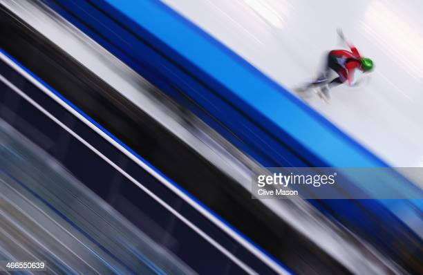 A member of the Hungarian Short Track team practices during a training session ahead of the Sochi 2014 Winter Olympics at Iceberg Skating Palace on...