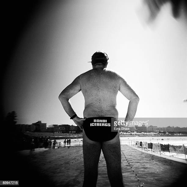 A member of the Icebergs waits to get in the water on the opening day of the 2008 season at Bondi Baths May 4 2008 in Sydney Australia The Bondi...
