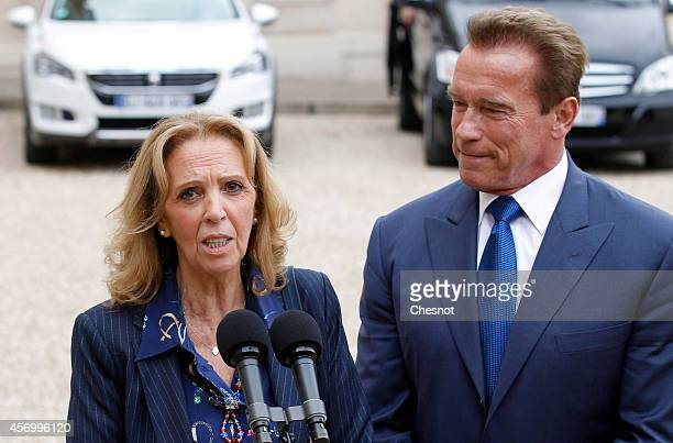 Member of the IledeFrance regional council Michele Sabban makes a statement next to former governor of California and founding chair of the R20...