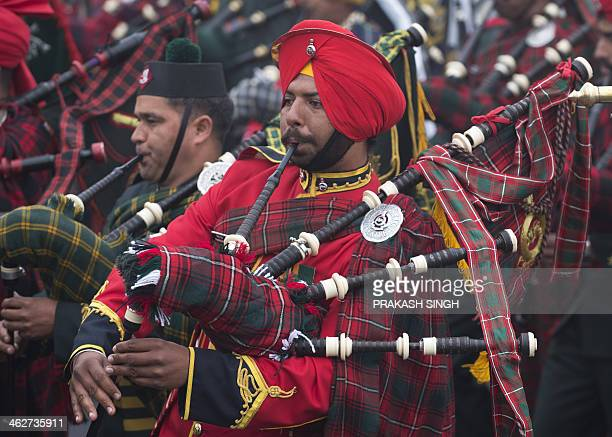 A member of the Indian Army band takes part in the Army Day parade in New Delhi on January 15 2014 The Indian army celebrated the 66th anniversary of...