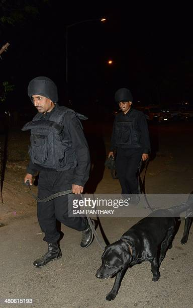 A member of the Indian Chetak Commandos from the state of Gujarat takes part in a security drill at the start of three days of drills at the...
