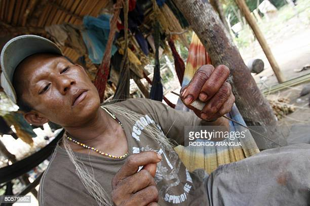 Member of the indigenous Nukak-Maku ethnic group, the last nomadic people of Colombia, puts poison on the tip of an arrow on April 7 in a provisional...