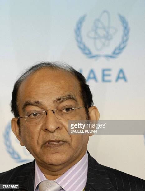 Member of the International Atomic Energy Agency's board of governors, Abdul Minty of South Africa, holds a press conference on the sidelines of the...