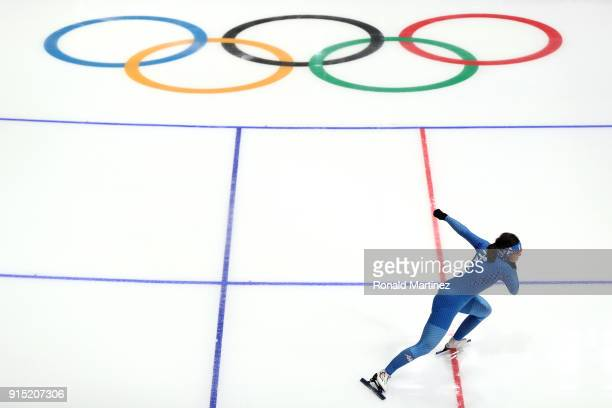 A member of the Italy Women's Short Track Speed Skating team trains during previews ahead of the PyeongChang 2018 Winter Olympic Games at Gangneung...