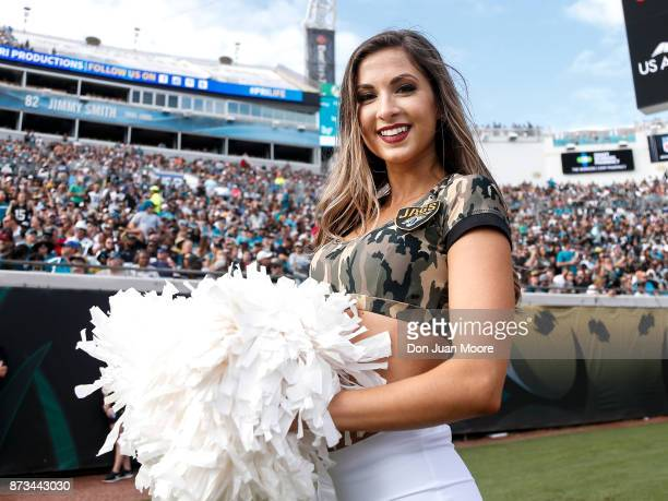 A member of the Jacksonville Jaguars ROAR Cheerleaders on the sidelines during the game against the Los Angeles Chargers at EverBank Field on...