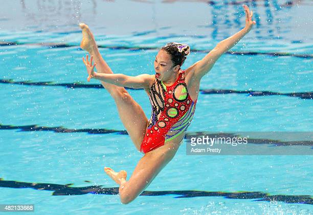 A member of the Japan team competes in the Women's Team Technical Synchronised Swimming Final on day three of the 16th FINA World Championships at...