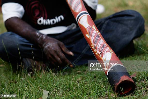 A member of the Jawoyn Mob plays a didgeridoo during a welcoming ceremony for passengers of the Ghan ANZAC Tribute train at Nitmiluk National Park on...