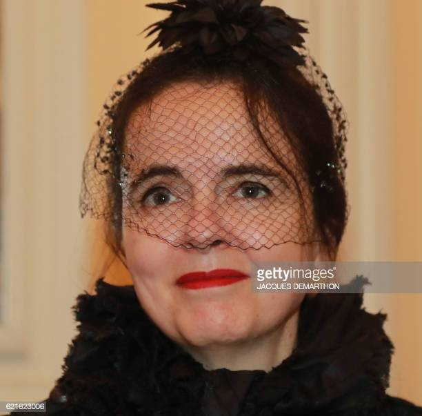 Member of the jury Belgian writer Amélie Nothomb is pictured after the announcement of the winner of this year's Prix Decembre literary prize on...