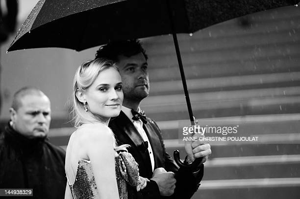Member of the jury German actress Diane Kruger and partner US actor Joshua Jackson arrive for the screening of 'Amour' presented in competition at...