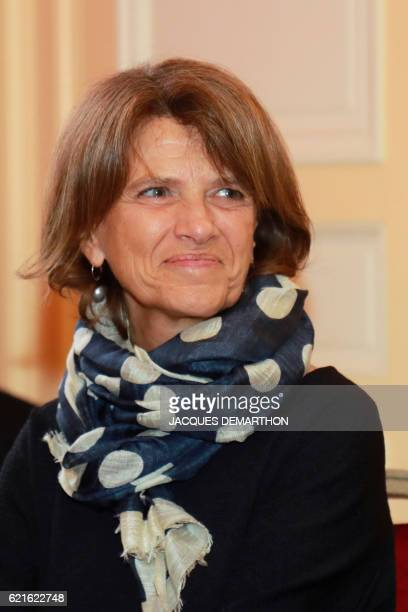 Member of the jury Patricia Martin is pictured after the announcement of the winner of this year's Prix Decembre literary prize on November 7 2016 in...