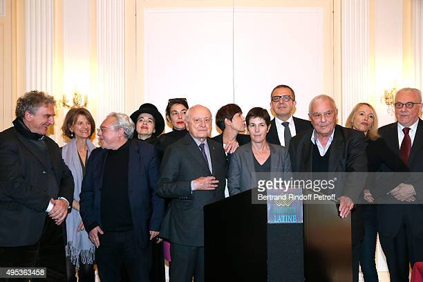 Member of the Jury Pierre Berge with Winner of the Prize Christine Angot for her book 'Un amour impossible' and others Members of the Jury attend the...