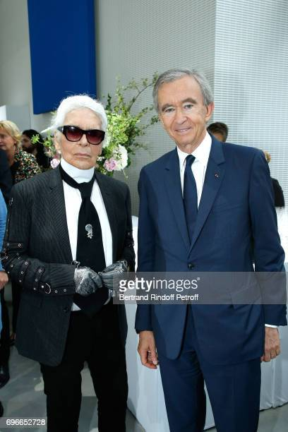 "Member of the Jury, stylist Karl Lagerfeld and Owner of LVMH Luxury Group Bernard Arnault attend the ""Young Fashion Designer"" : LVMH Prize 2017..."