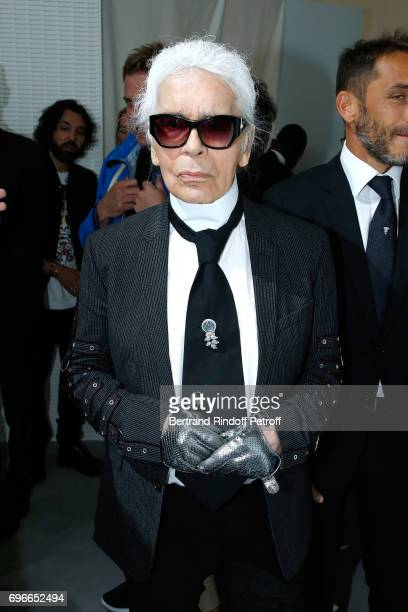 Member of the Jury stylist Karl Lagerfeld attends the Young Fashion Designer LVMH Prize 2017 Edition at Fondation Louis Vuitton on June 16 2017 in...