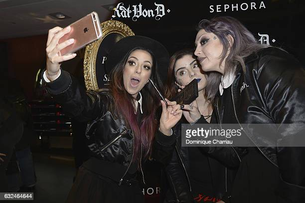 Member of the Kat Von D Beauty artistry team Tara Buenrostro Beauty influencer Elsamakeup and Member of the Kat Von D Beauty artistry Leah Carmichael...