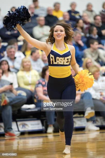 A member of the Kent State Golden Flashes dance team during the first half of the men's college basketball game between the Ohio Bobcats and Kent...