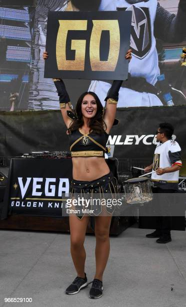 A member of the Knights Crew cheers at a Vegas Golden Knights road game watch party for Game Three of the 2018 NHL Stanley Cup Final between the...