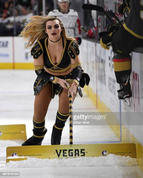 A member of the Knights Crew cleans the ice during the Vegas Golden Knights' game against the Washington Capitals at TMobile Arena on December 23...